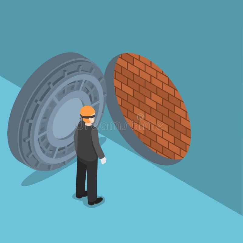 Ladro isometrico con la porta della volta con il muro di mattoni dentro illustrazione vettoriale