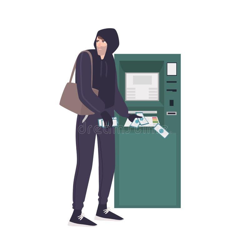 Ladro maschio che ruba le banconote dei soldi dal BANCOMAT Giovane uomo arrabbiato nel crimine commettente di maglia con cappucci illustrazione di stock