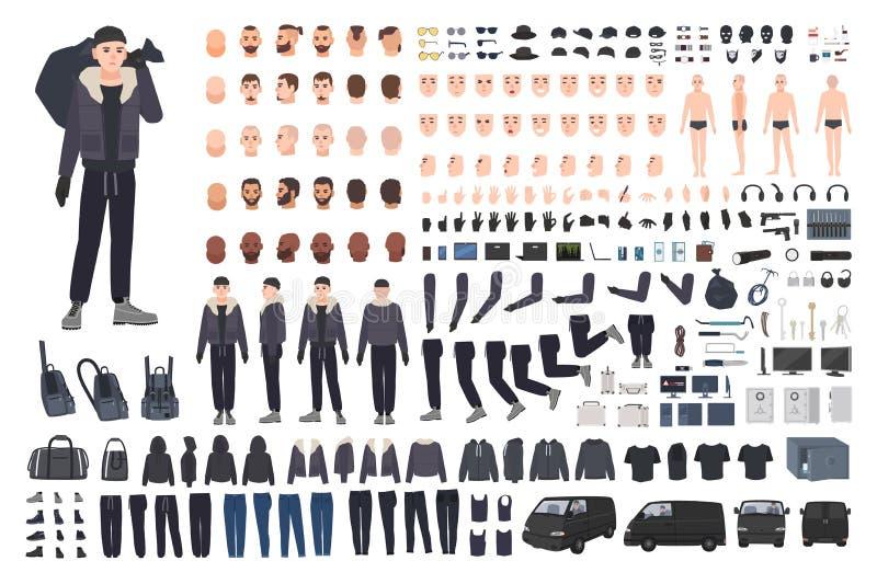 Ladro, scassinatore o insieme criminale della creazione o corredo di DIY Pacco delle parti del corpo maschii piane del personaggi illustrazione di stock