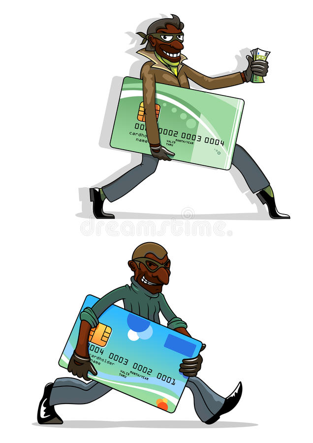 Ladrones de la historieta con las tarjetas y el dinero de banco stock de ilustración