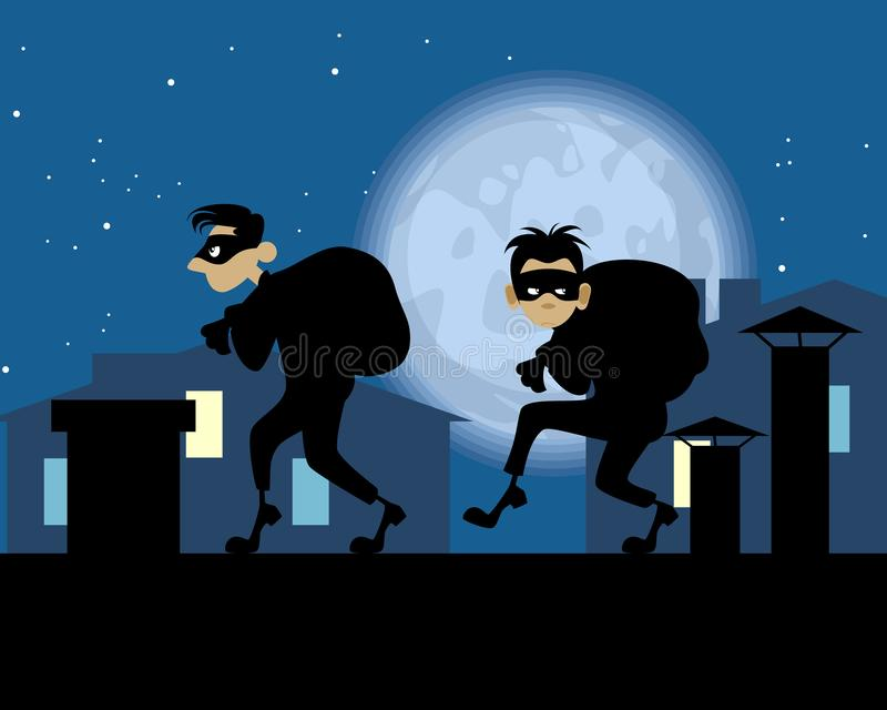 Ladrones de la noche en el tejado libre illustration