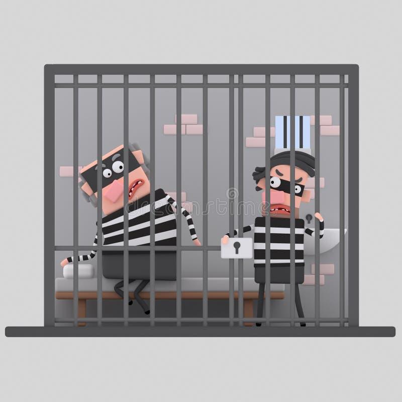 Ladrones en la prisión 3d ilustración del vector
