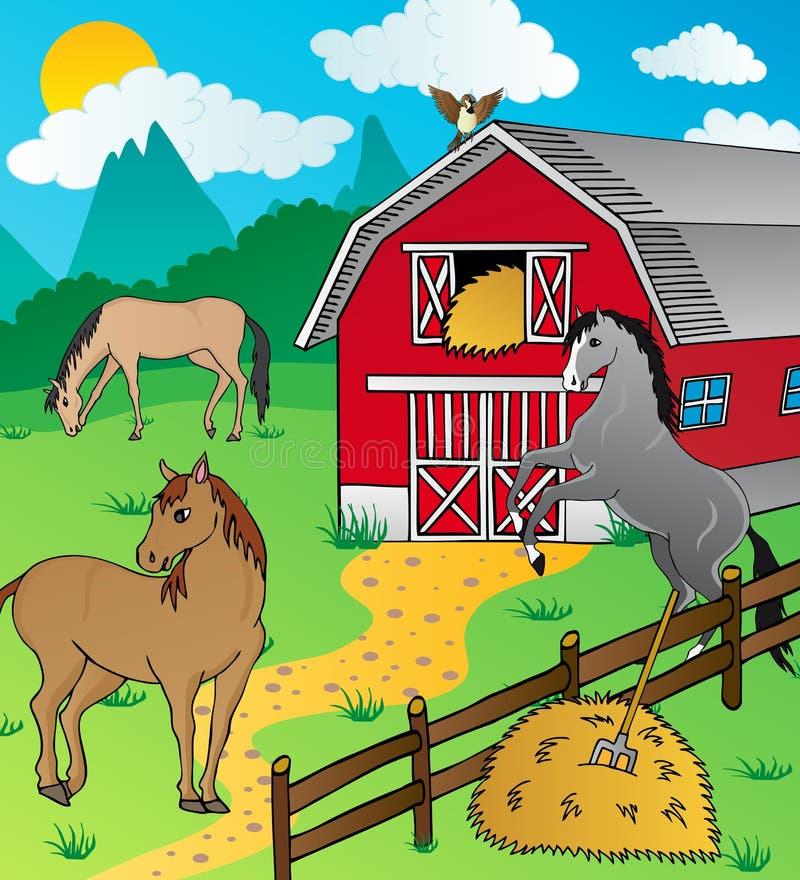 Download Ladugård och hästar vektor illustrationer. Illustration av ryttare - 27288291