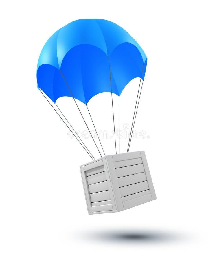 Ladung auf dem Fallschirm stock abbildung