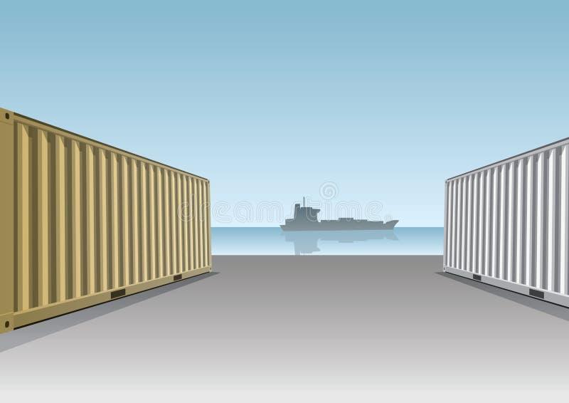 Ladung-Behälter an einem Dock stock abbildung