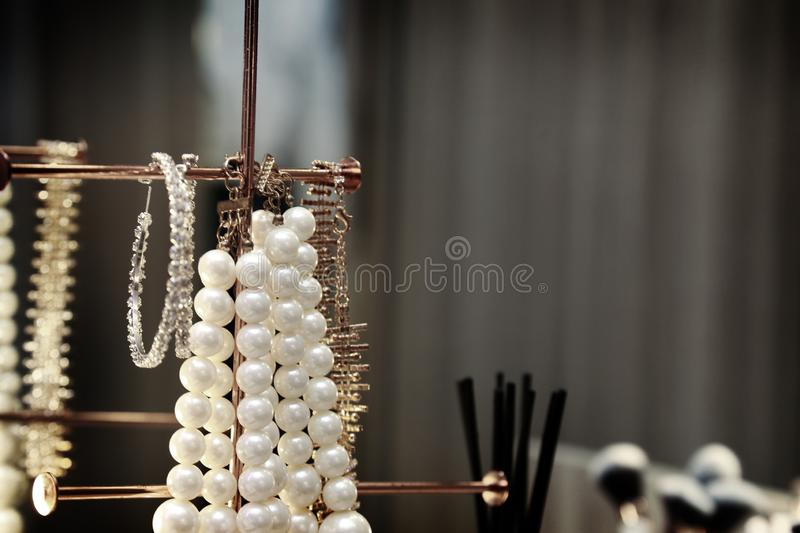 Lady accessories dress up with pearl and jewelry. Luxuary lady accessories dress up with pearl and jewelry stock photo