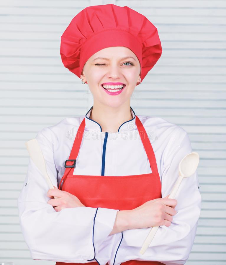 Lady adorable chef teach culinary arts. Culinary show concept. Woman pretty chef wear hat and apron. Delicious and easy. Recipes. Best culinary recipes to try royalty free stock photos