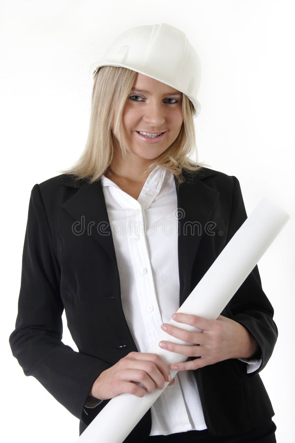 Lady architect holding blueprints stock image