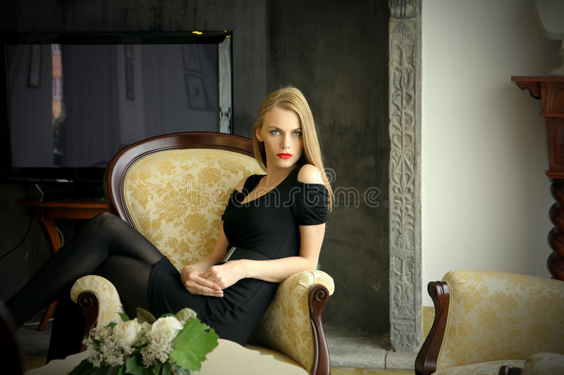 Download Lady in armchair stock image. Image of woman, screen - 11329717