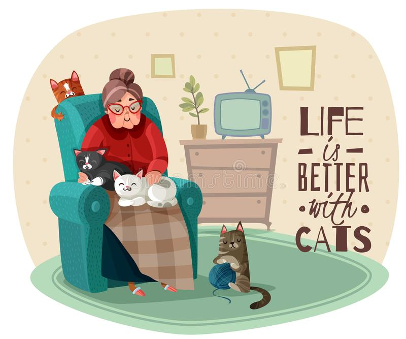 Lady In Armchair Cats Illustration. Old lady in armchair with cats during leisure in home interior, phrase about life vector illustration vector illustration