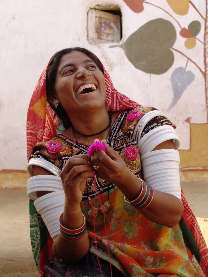 Lady artist at Camel fair, Jaisalmer, India stock photo
