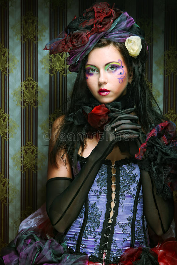 Download Lady With Artistic Make-up.Doll Style. Royalty Free Stock Image - Image: 17269206
