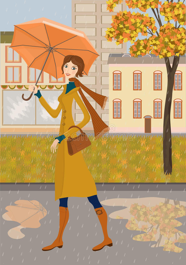 Download Lady and autumn city stock vector. Illustration of beauty - 27027874