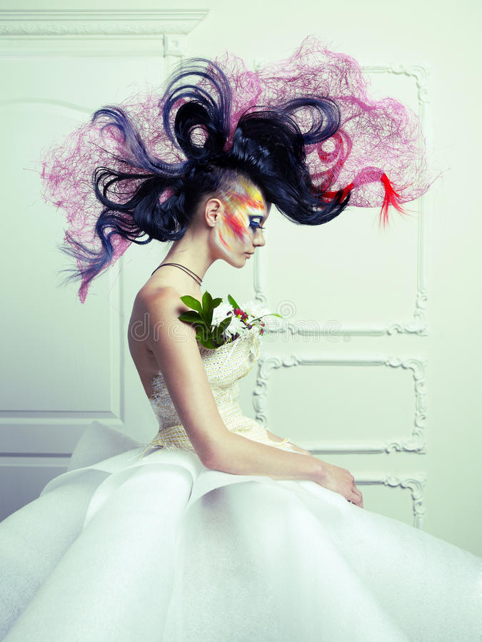 Download Lady with avant-garde hair stock image. Image of flowers - 26343471