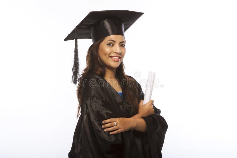 Lady Avlägga examen arkivfoto