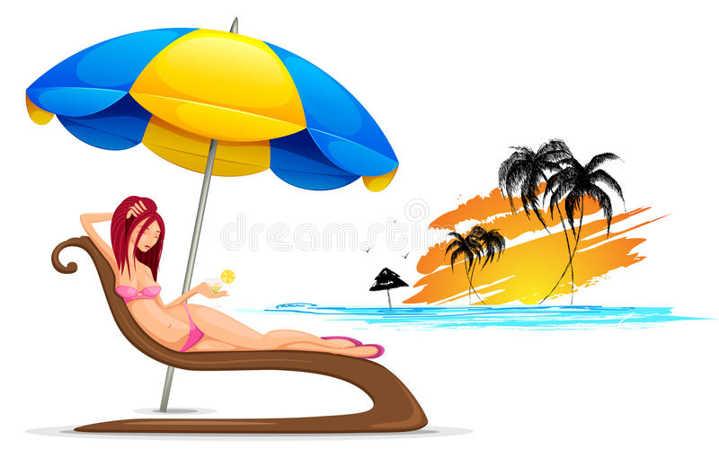 Download Lady in Beach stock vector. Image of landscape, outdoor - 25146446