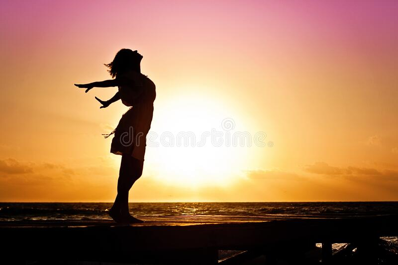 Lady in Beach Silhouette during Daytime Photography royalty free stock images