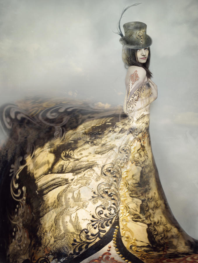 Lady. Beautiful artistic portrait of an extravagant lady in an eighteen century style dress and cylinder with clouds in the background stock photos