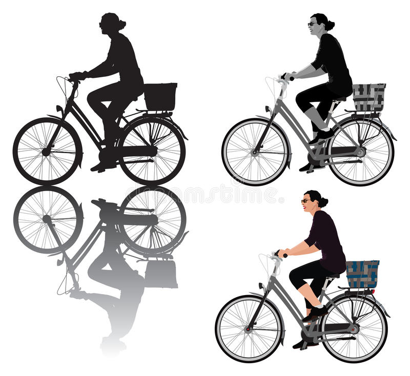Download Lady on bicycle stock vector. Image of black, drawing - 14261091