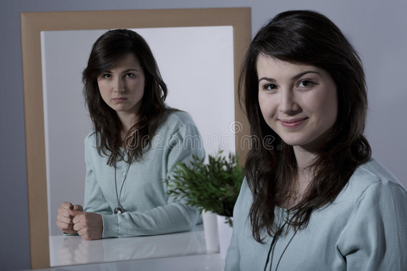 Lady with bipolar disorder royalty free stock images