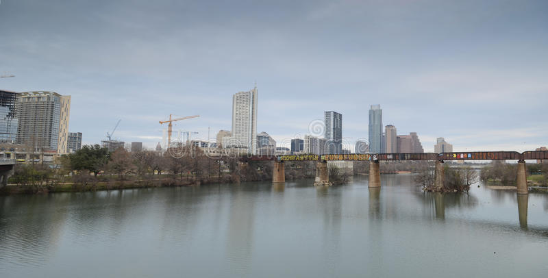 Lady Bird lake and downtown Austin Texas royalty free stock photography