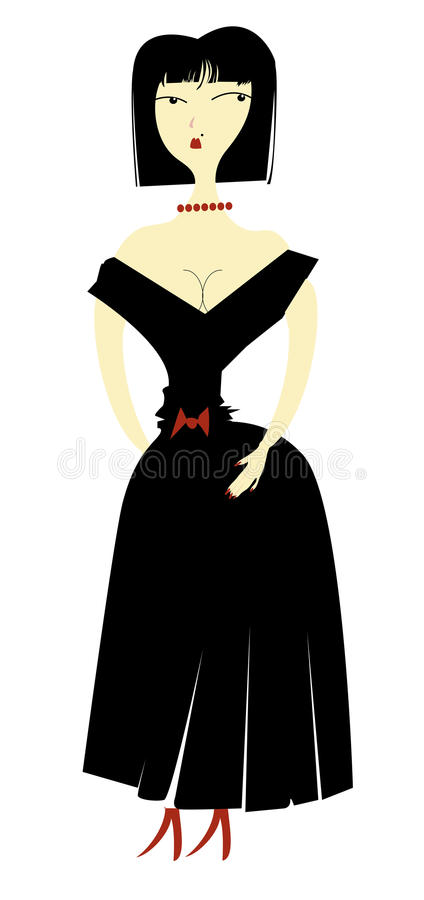 Download Lady in Black stock vector. Image of dress, woman, secular - 28188502
