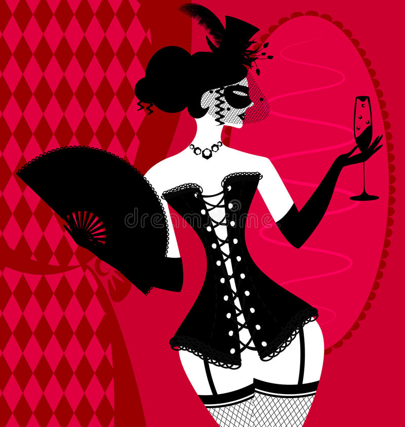 Download Lady in a black corset stock vector. Illustration of figure - 34410998