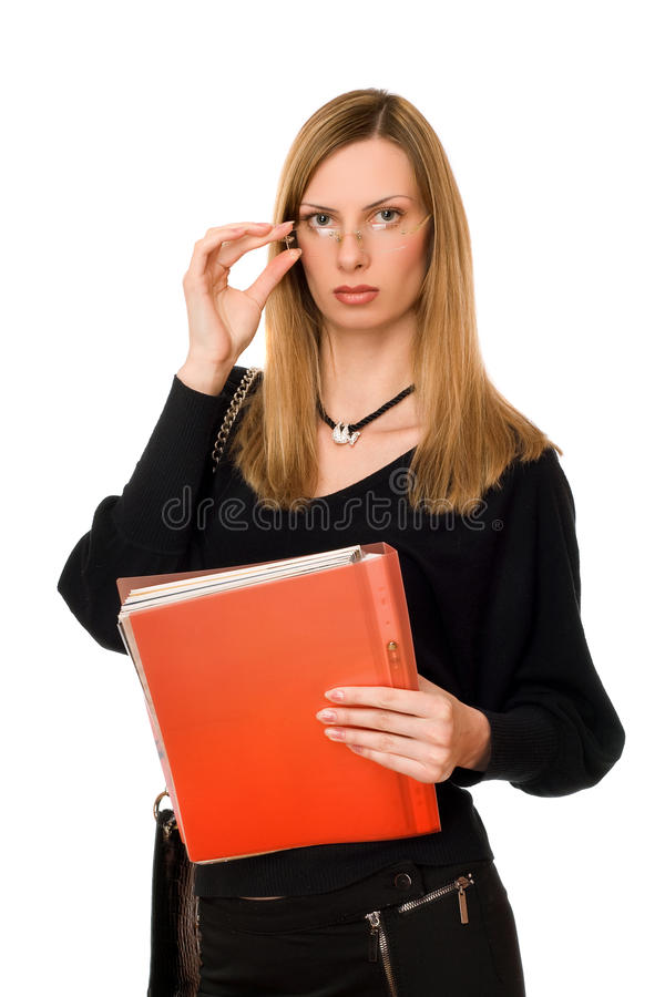 Lady in black with the folder stock images