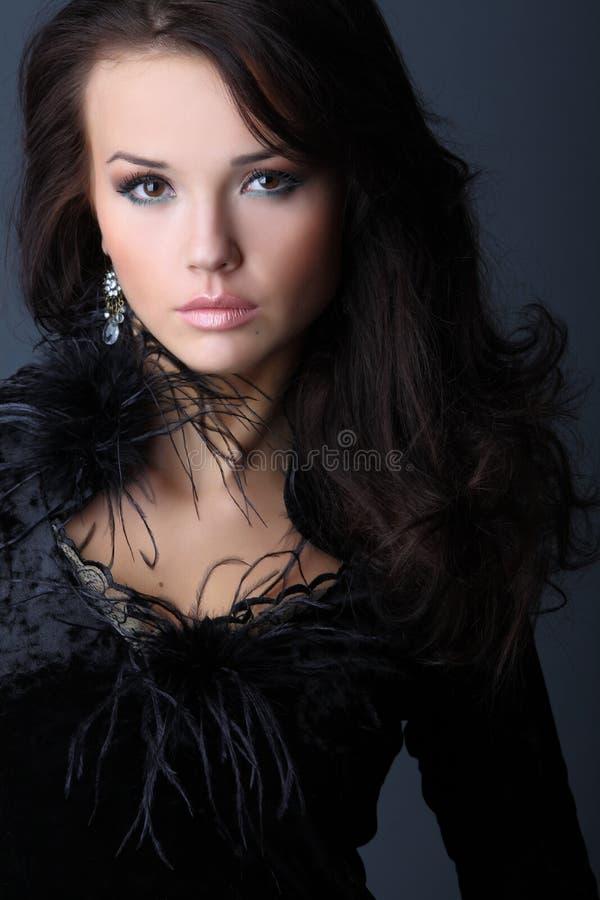 Lady In A Black Velvet Dress stock photography
