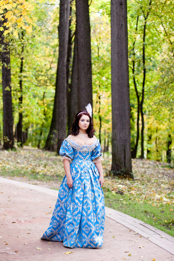 Lady in blue stock photography