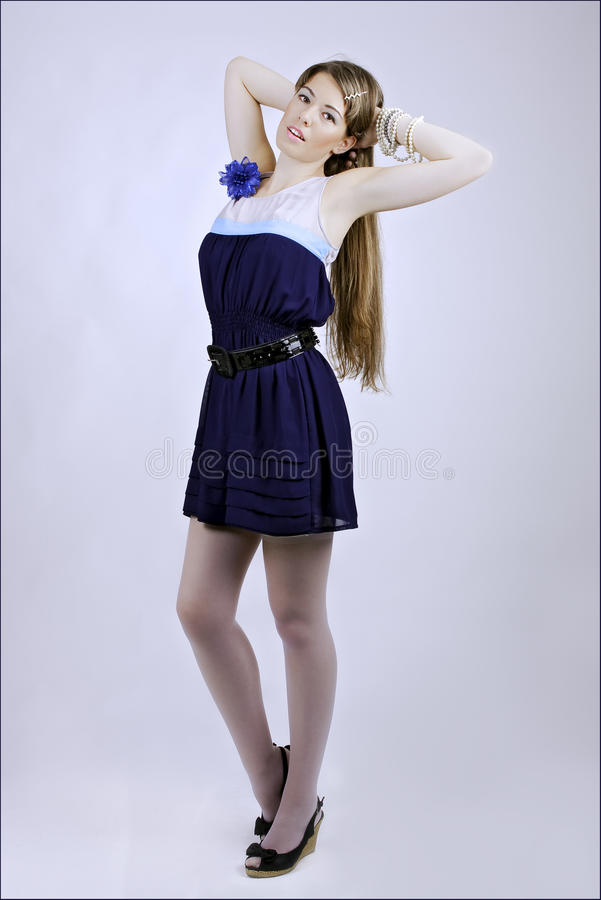 Lady in blue dress royalty free stock images