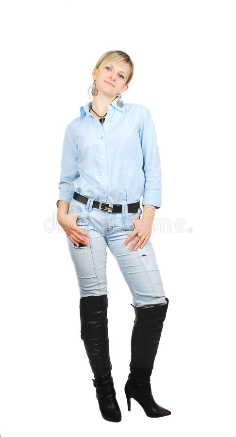 Lady in blue jeans. stock photos
