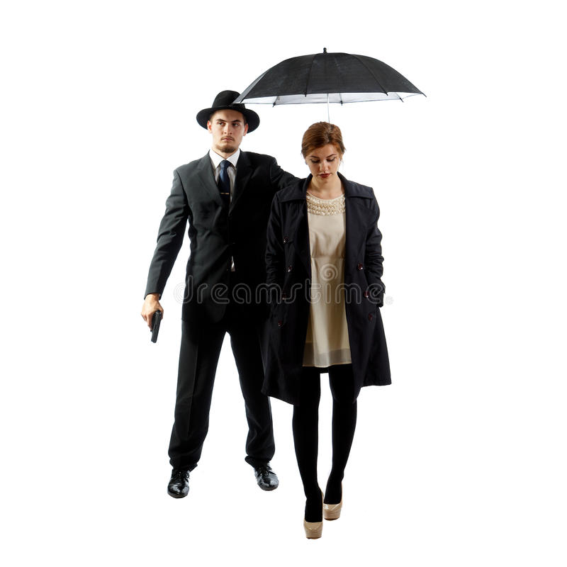 Lady with a bodyguard royalty free stock photos