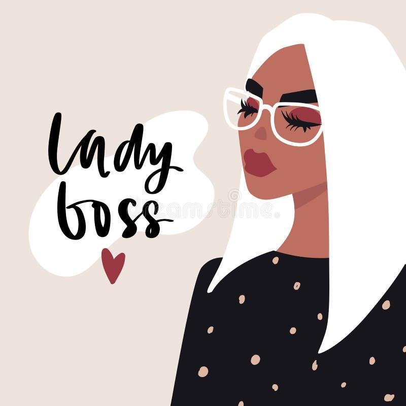 Lady Boss-handskrivet citat och illustration av Fashion-flickans vektor vektor illustrationer