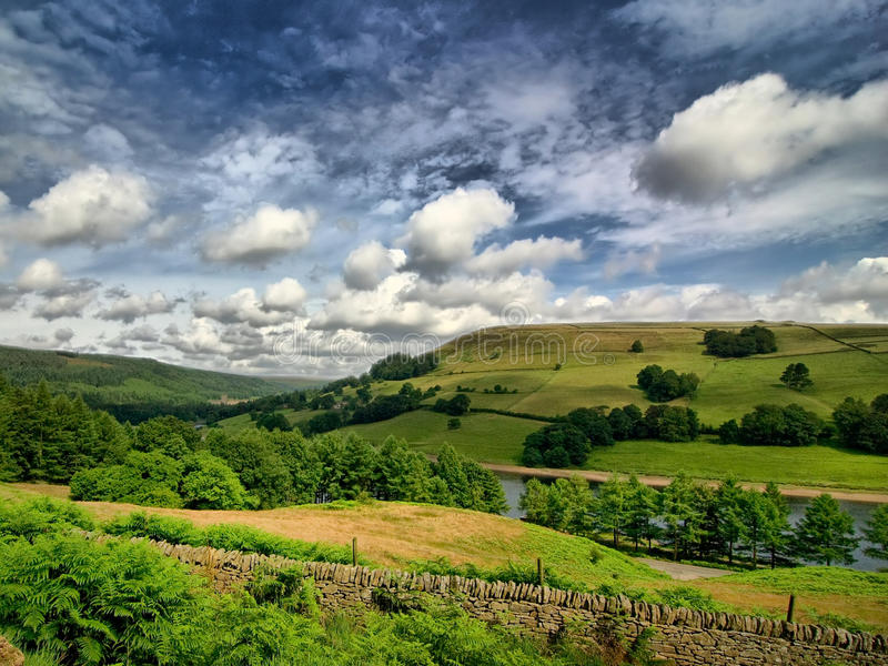 Lady Bower in the Derwent Valley. View over Lady bower reservoir in Derbyshire, UK. Processed to highlight the rolling clouds royalty free stock photography