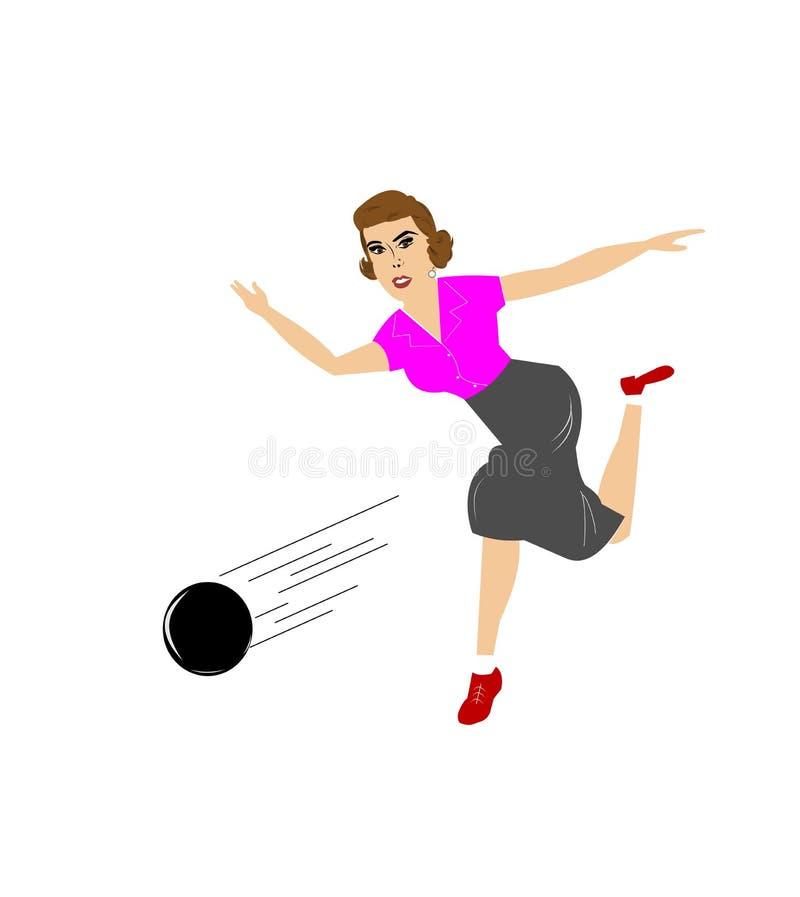 Lady bowling stock illustration