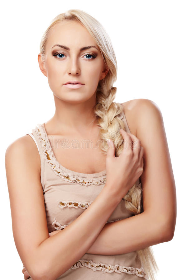 Download Lady with braid stock image. Image of grey, girl, elegance - 15839833