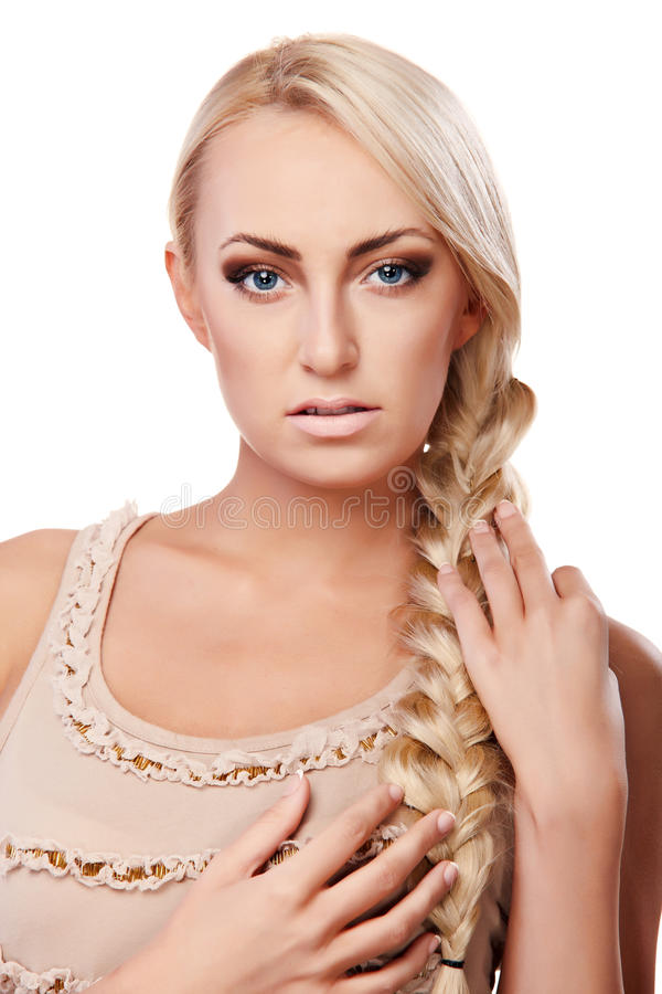Lady with braid royalty free stock images