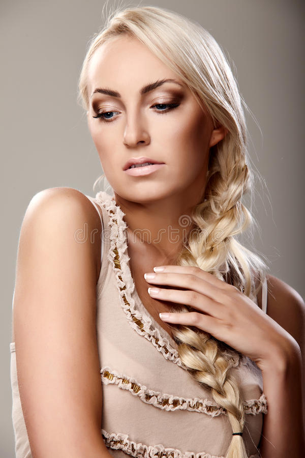 Lady with braid royalty free stock photos