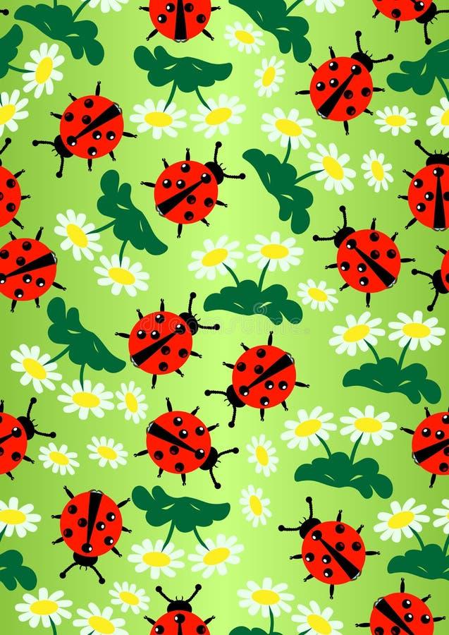 Lady Bug&daisy stock image
