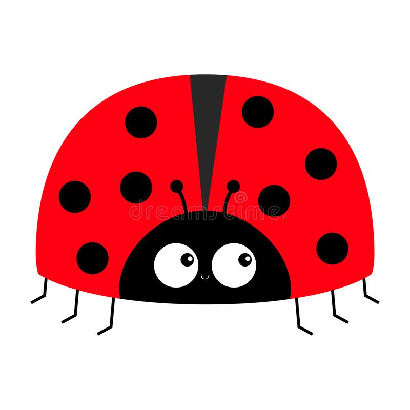 Lady bug ladybird insect icon print. Love greeting card. Cute cartoon kawaii funny baby character. Happy Valentines Day. Flat. Design. White background. Vector stock illustration