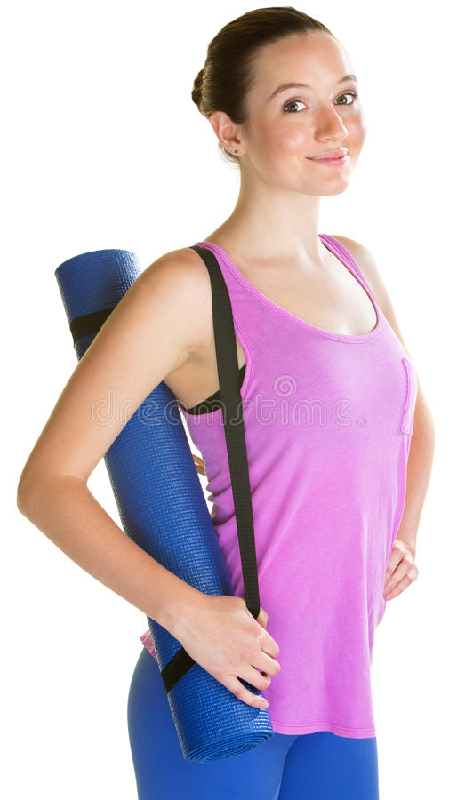 Lady Carrying Yoga Mat stock photography