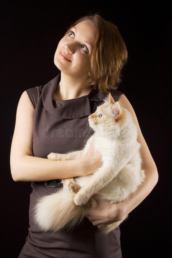 Lady With Cat Royalty Free Stock Image