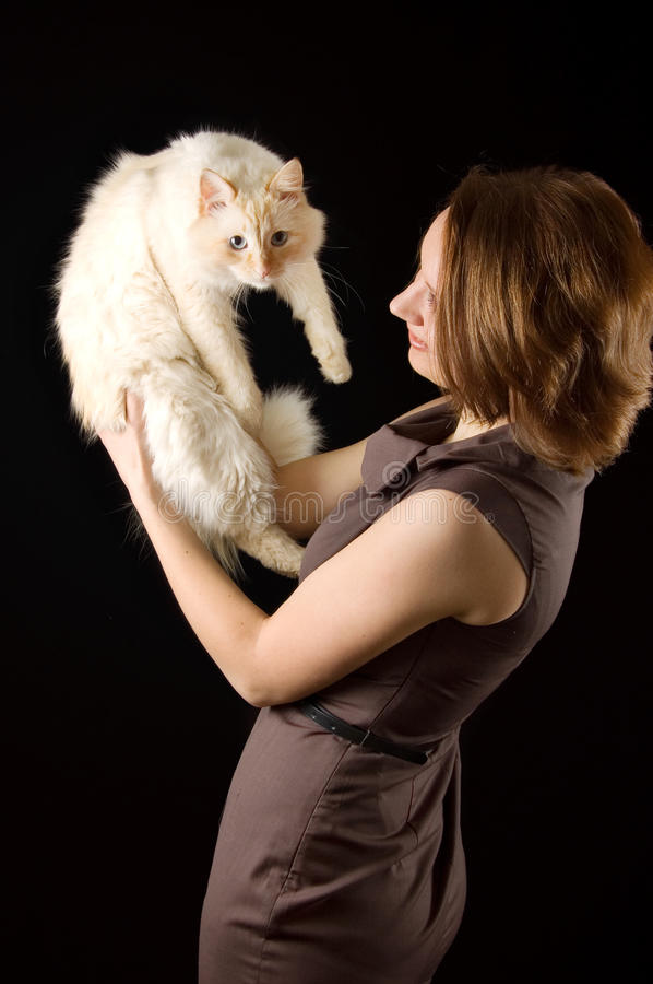 Lady With Cat Stock Image