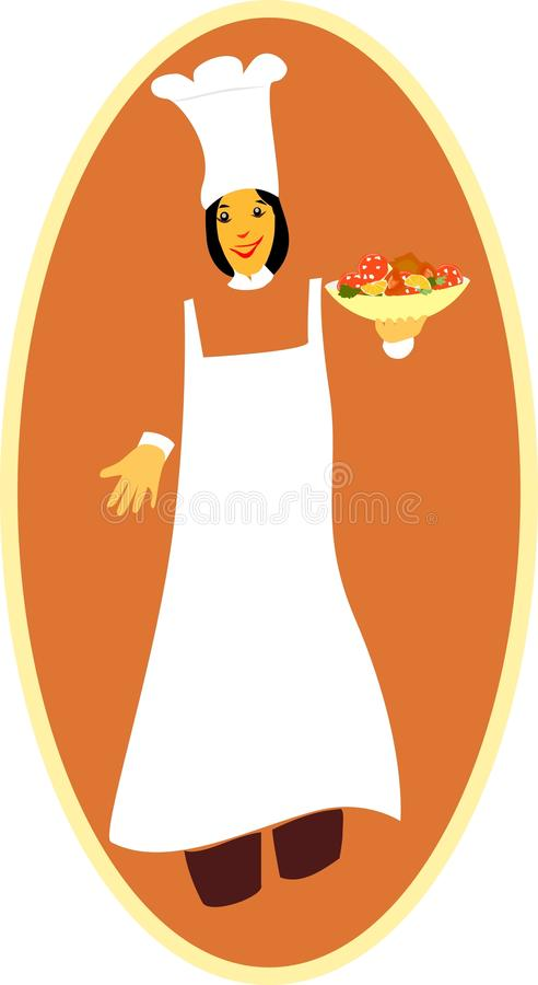 Lady chef with food bowl in hand royalty free stock image