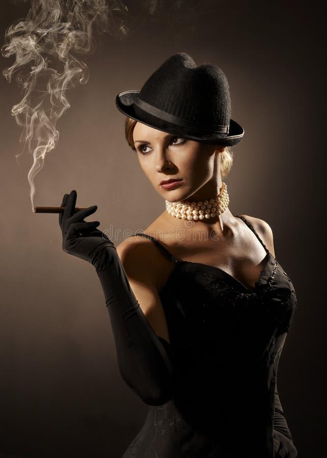 Woman Smoke Cigarette, Girl Smoking Cigar, Fashion Retro Portrait Royalty Free Stock Image