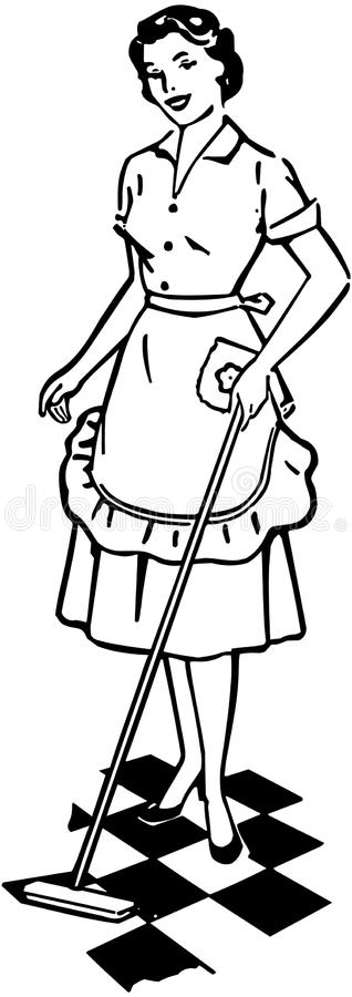Lady Cleaning Floor vector illustration