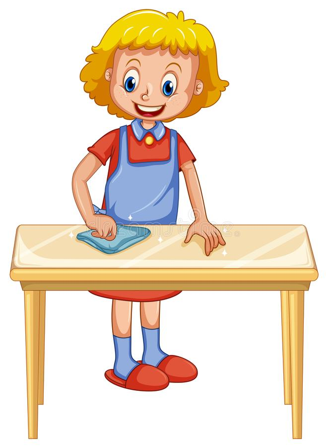 A Lady Cleaning Table on White Background stock illustration
