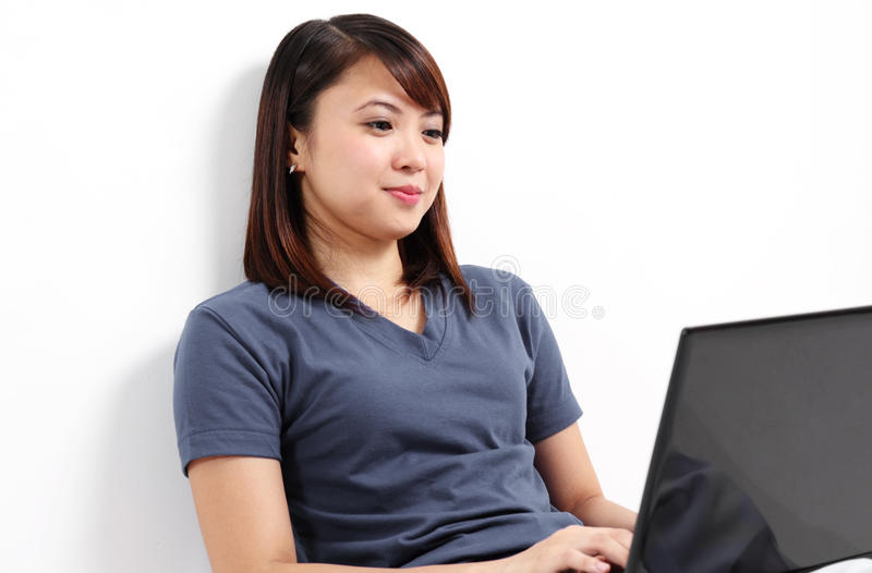 Lady With Computer Royalty Free Stock Photography