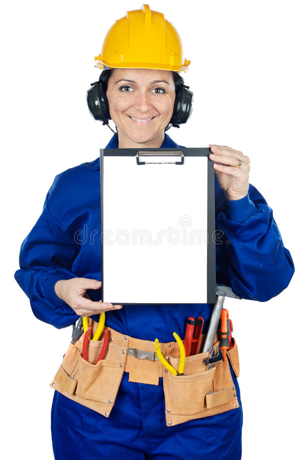 Lady construction worker royalty free stock photography
